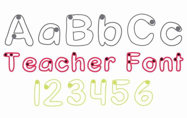 Starting Dots Trace Font Teacher Font - Free Download KindergartenWorks