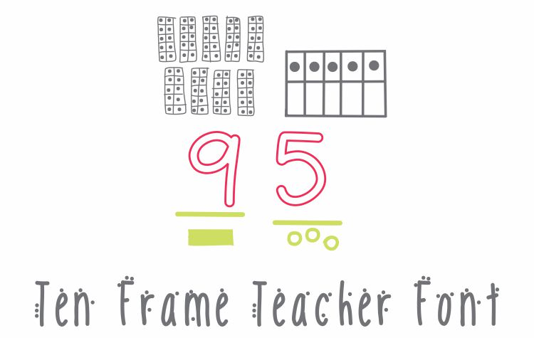 Ten Frame Font Teacher Font - Download KindergartenWorks