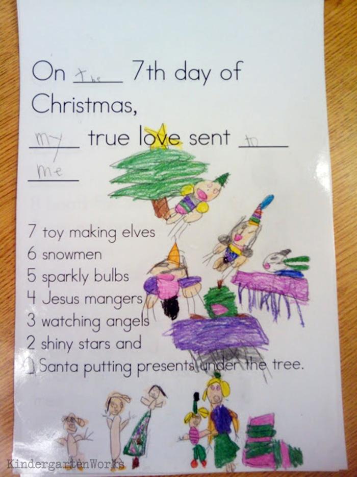 The 12 Days of Christmas Kindergarten Activity - elves