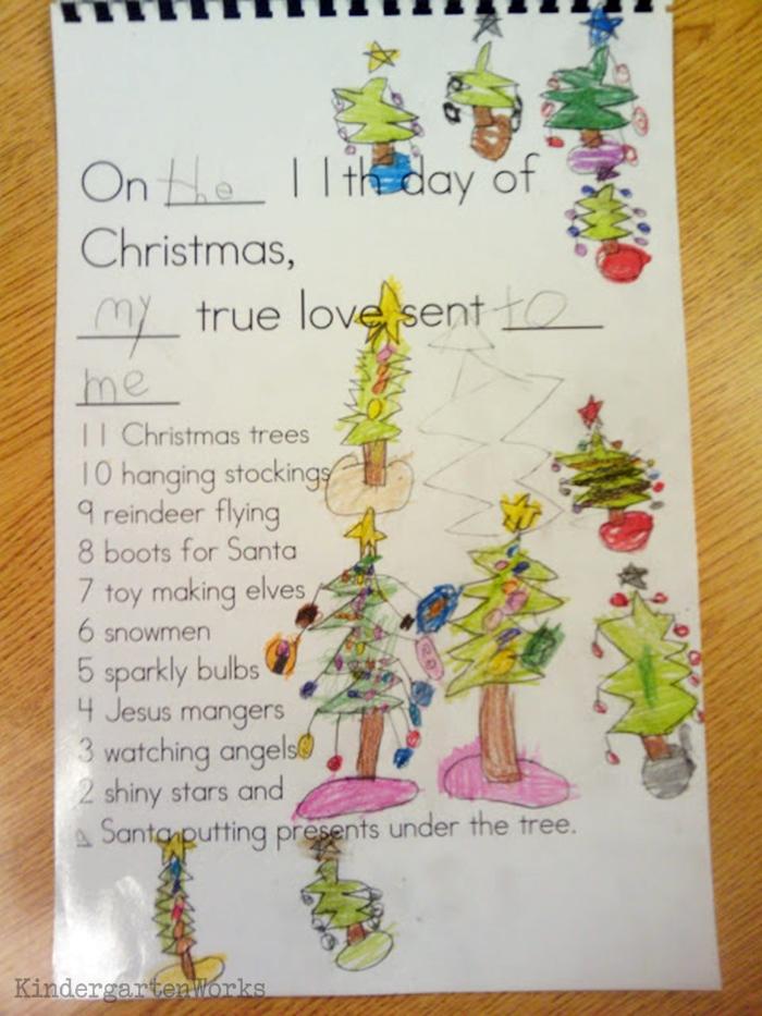 The 12 Days of Christmas Kindergarten Activity - kids illustrate class book