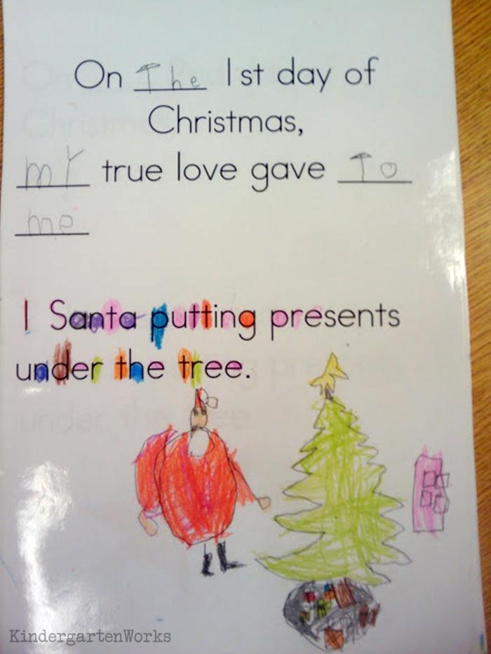 The 12 Days of Christmas Kindergarten Activity - make a class book into an audio book