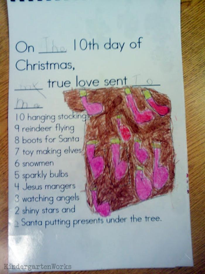 The 12 Days of Christmas Kindergarten Activity - so cute