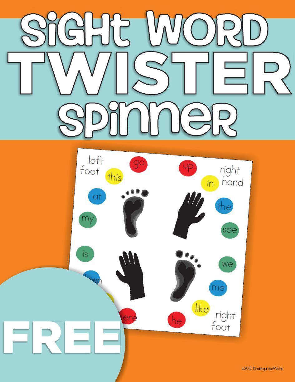 Sight Word Twister Kindergartenworks