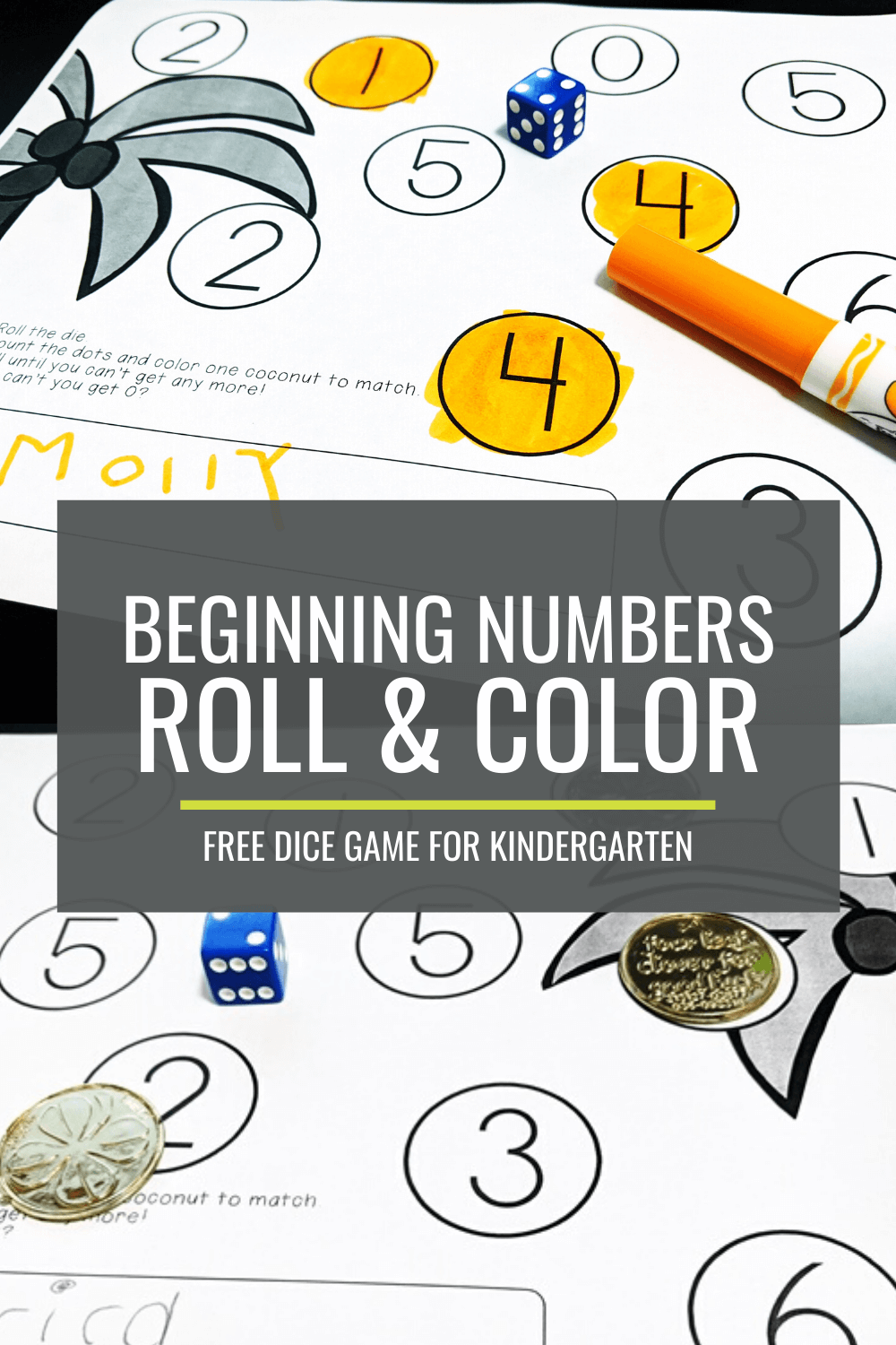 Free Beginning Numbers Roll and Color Dice Game
