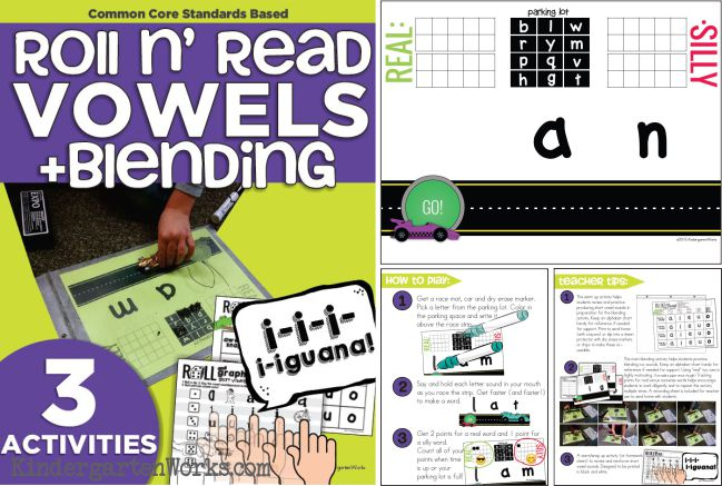 Roll and Read Short Vowels | CVC Blending | Kindergarten Reading Activities