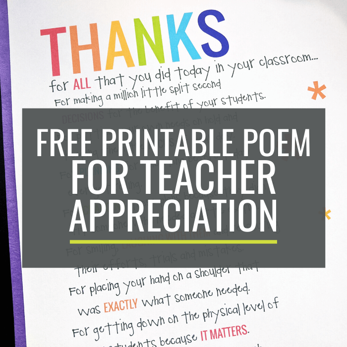 Free Printable Poem for Teacher Appreciation