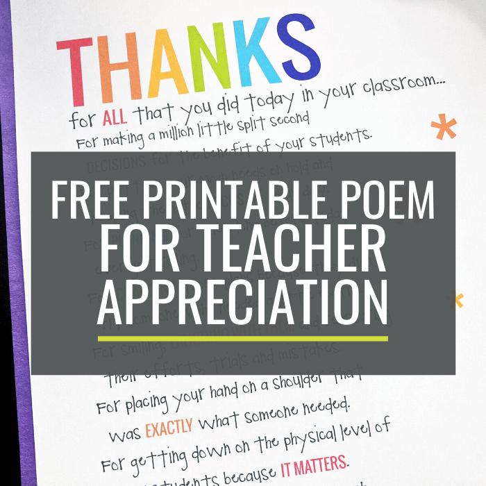 Free Printable Poem for Teacher Appreciation
