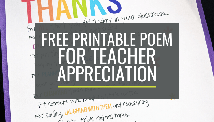 Free Teacher Appreciation Poem Printable