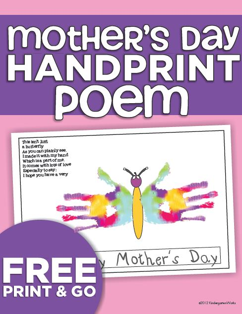Mothers Day Handprint Poem {printable} | KindergartenWorks