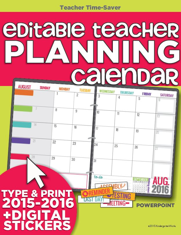 2015-2016 Editable Teacher Planning Calendar Template