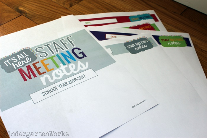 Staff Meeting Notes Templates - KindergartenWorks