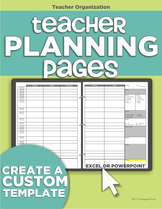 teacher planning binder - make your own template
