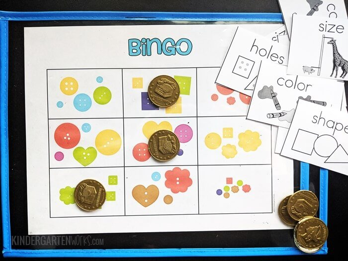 Bingo game for sorting by category in kindergarten