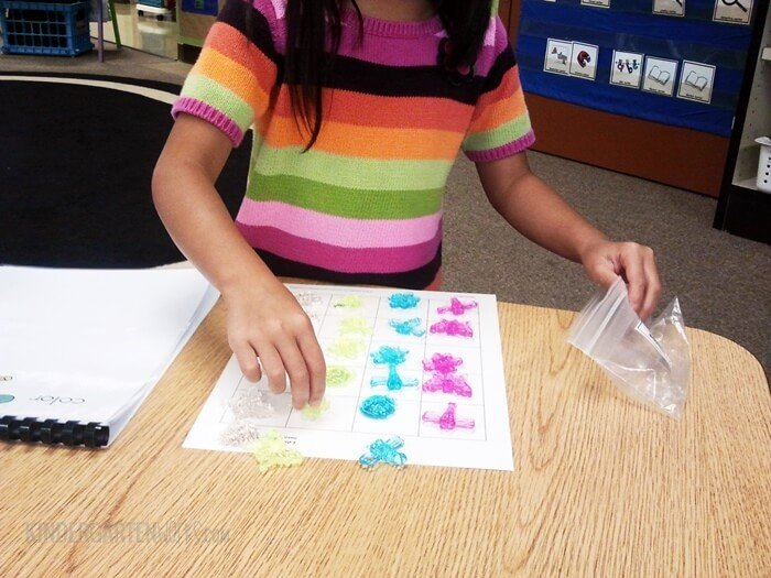 Sorting objects then putting onto a graph in kindergarten