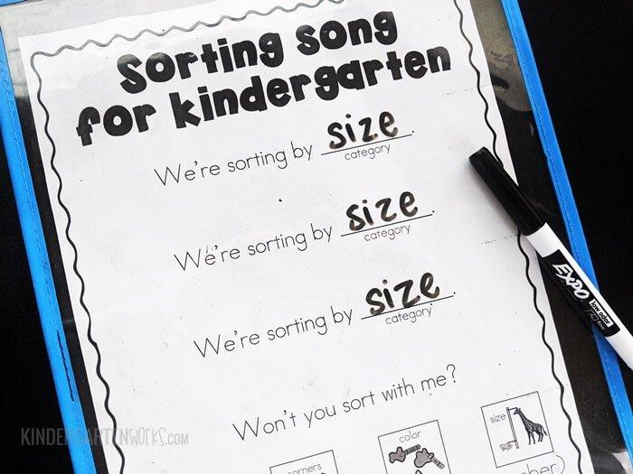 Sorting song for kindergarten