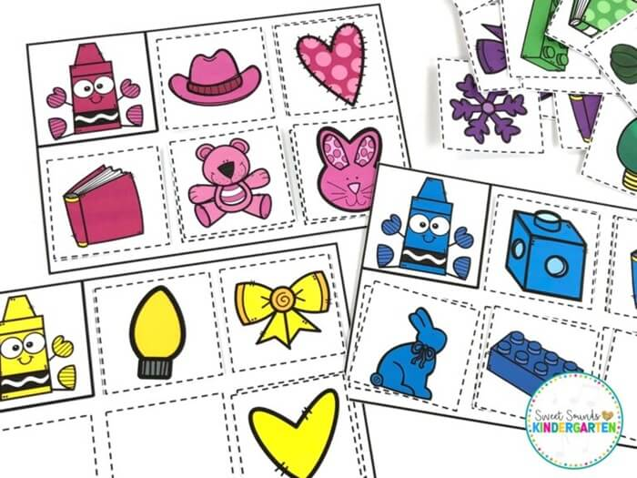 free sorting by color activity cards
