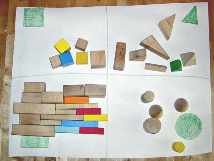 free sorting by shape blocks activity