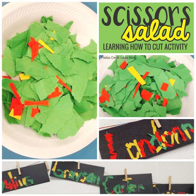 scissors salad - learning how to cut in kindergarten - KindergartenWorks
