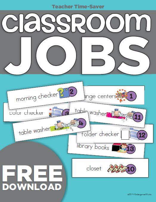 Kindergarten Classroom Jobs Picture List {Freebie Printable ...