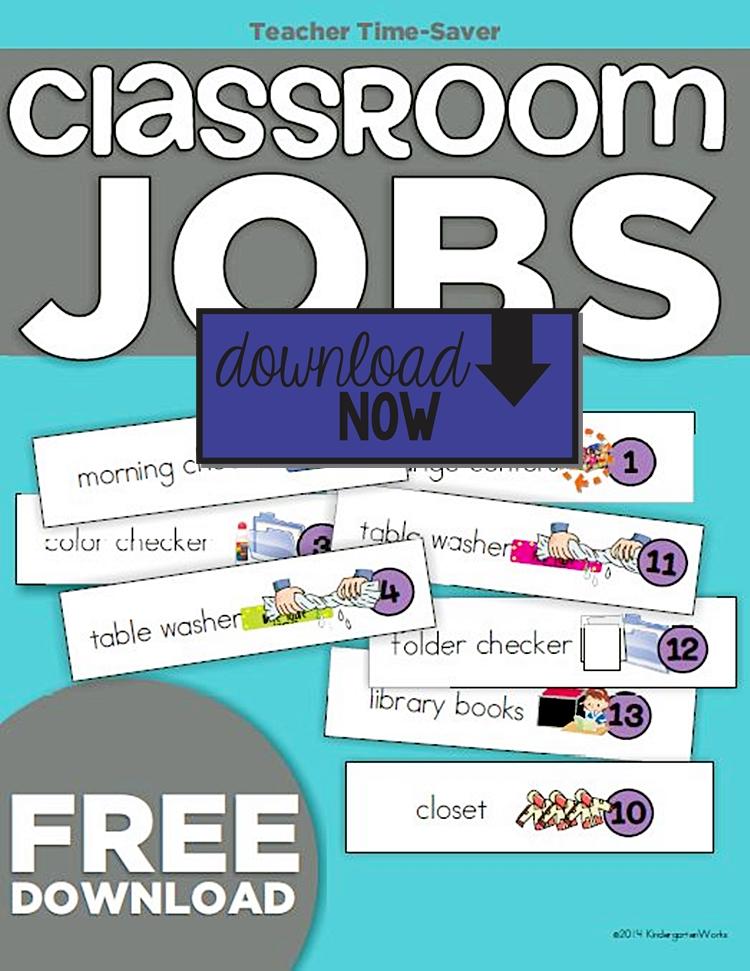Classroom Job Ideas For Kindergarten ~ Kindergarten classroom jobs picture list freebie