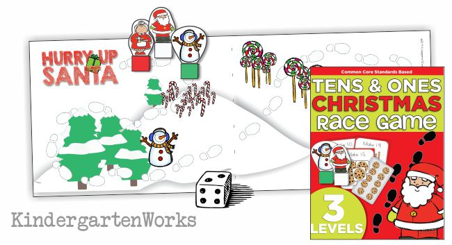 Composing Tens and Ones Christmas Race Game Printable - Gameboard