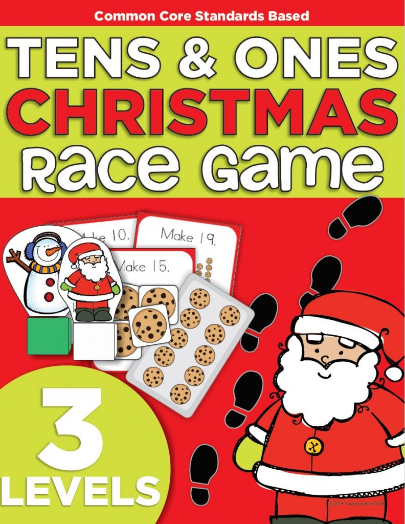 Composing tens and ones christmas race game printable for Cool christmas math games
