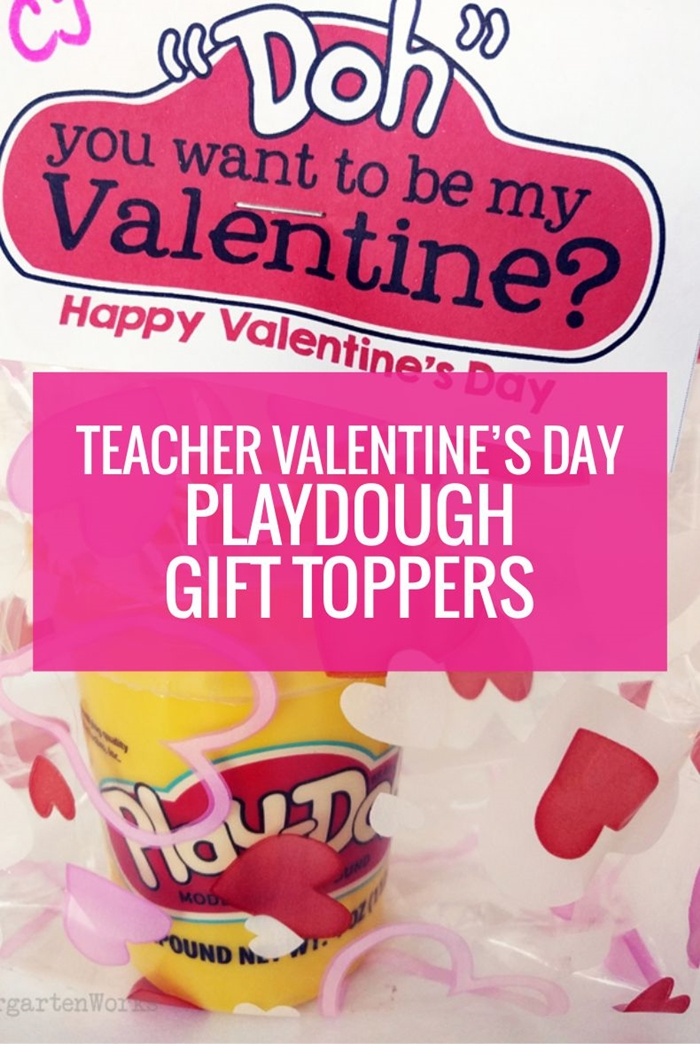 Free Teacher Valentine's Day Playdough Gift Toppers