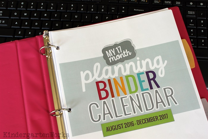 2016-2017 Printable Calendar Teacher Planning - Binder - KindergartenWorks