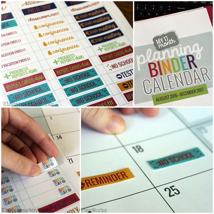 2016-2017 Printable Calendar Teacher Planning - Print Own Stickers - KindergartenWorks
