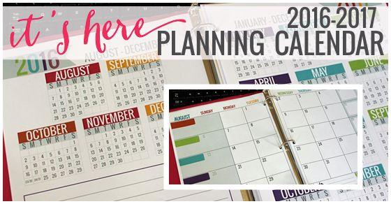 Printable Calendar 2016-2017 Calendar Template - KindergartenWorks