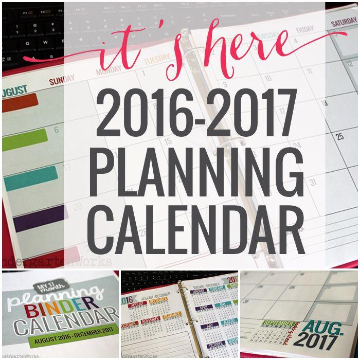 Printable Calendar 2016 2017 Calendar Template Kindergartenworks Bloglovin
