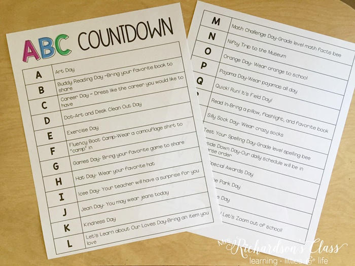 14 ABC Countdown Calendars - ABC Countdown list that's free - KindergartenWorks