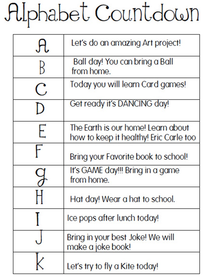 14 ABC Countdown Calendars - activity based countdown ideas - KindergartenWorks