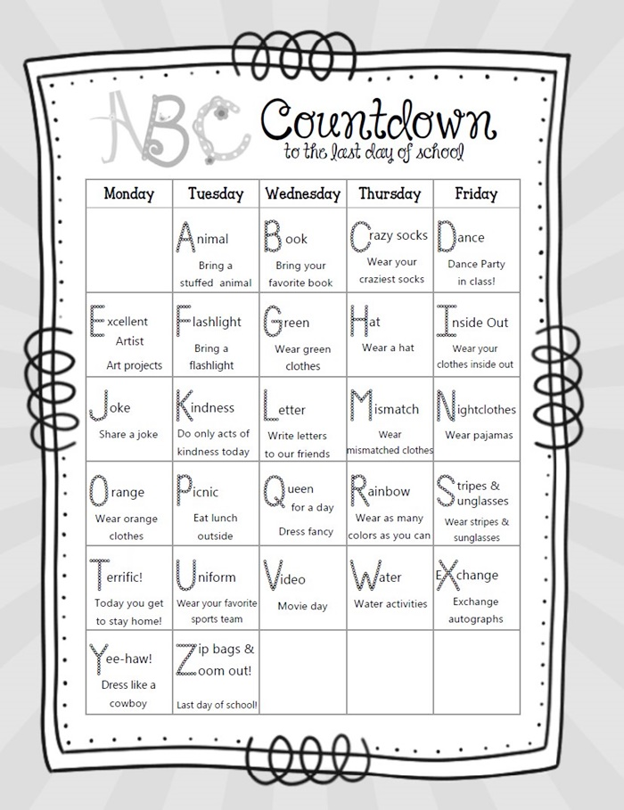 14 ABC Countdown Calendars - free printable ABC countdown to summer - KindergartenWorks