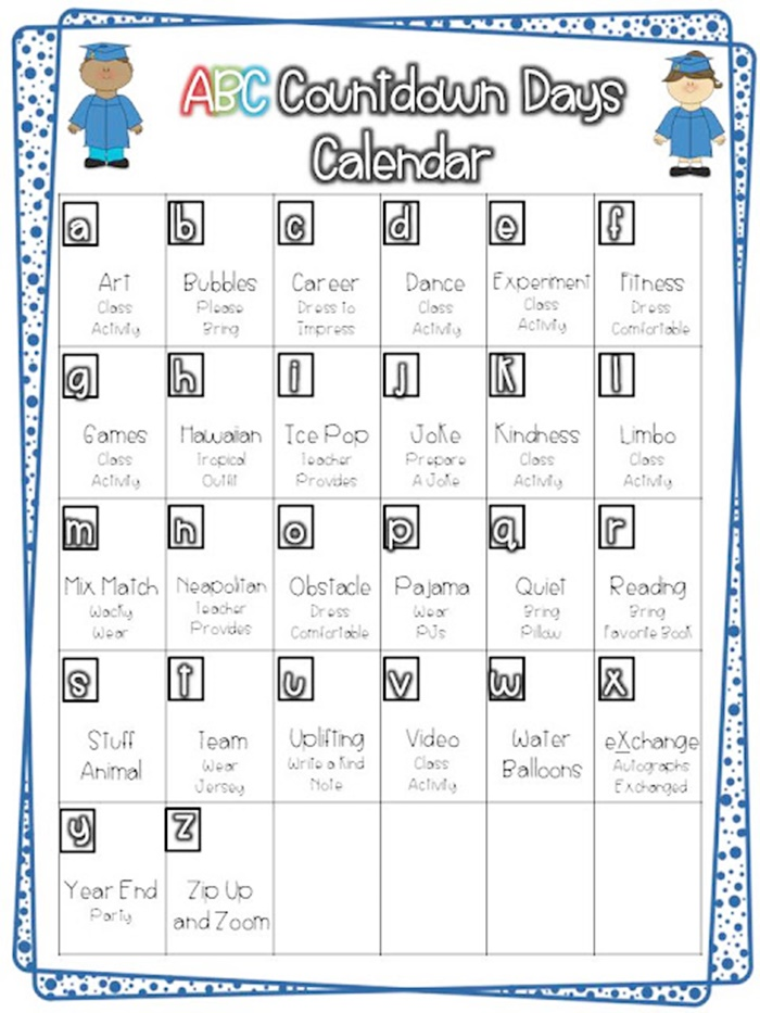 Kindergarten Calendar For Parents : Alphabet countdown calendars here comes the end of