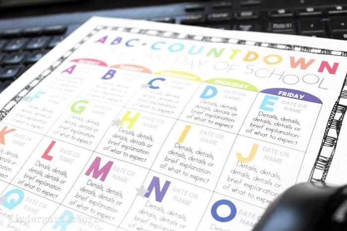 Editable Alphabet Countdown to the Last Day of School