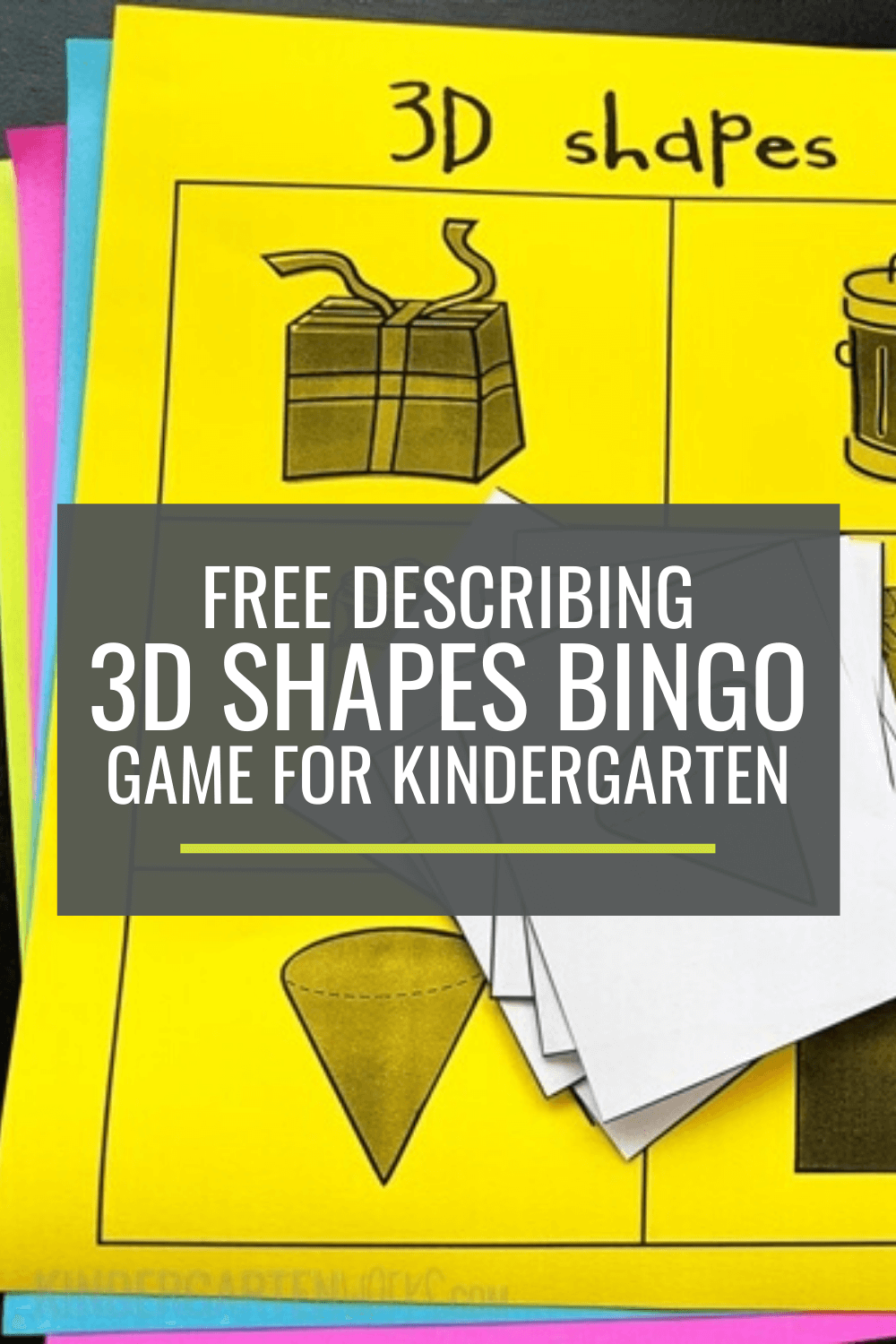 Free Describing 3D Shapes Bingo Game for Kindergarten