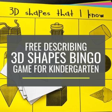 Free Describing 3D Shapes Bingo Game for Kindergarten