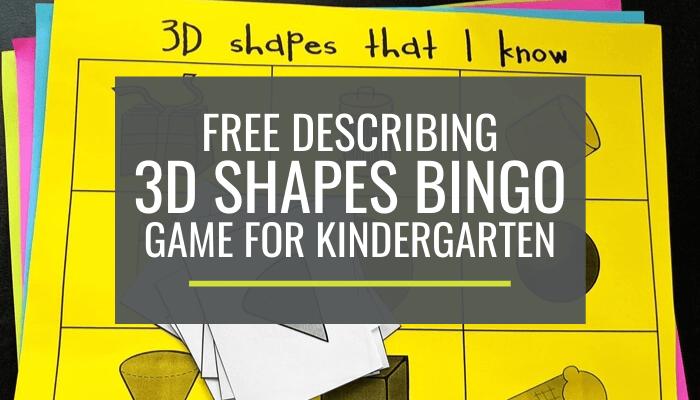 Free Describing 3D Shapes Kindergarten Bingo Game