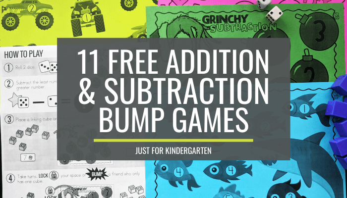 Free Addition Subtraction Bump Games Just for Kindergarten