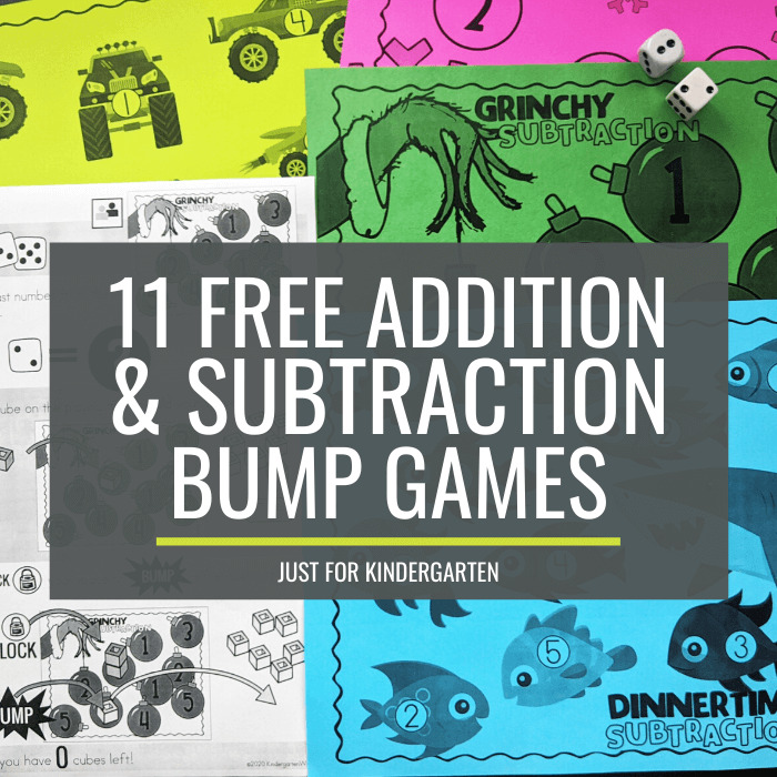 Free Addition and Subtraction Bump Games Just for Kindergarten