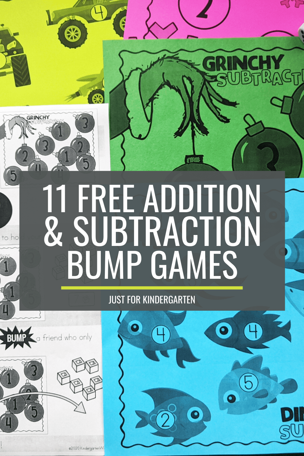 11 Free Addition and Subtraction Bump Games Just for Kindergarten