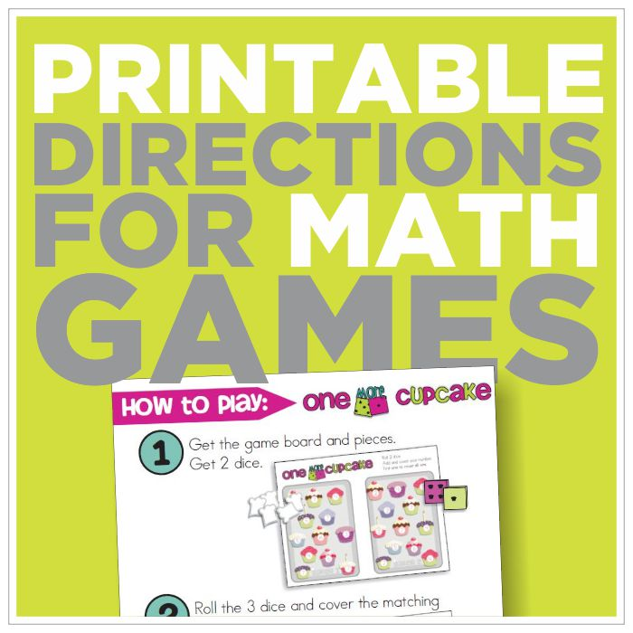 Free Picture Directions for 12 Math Games {printable ...