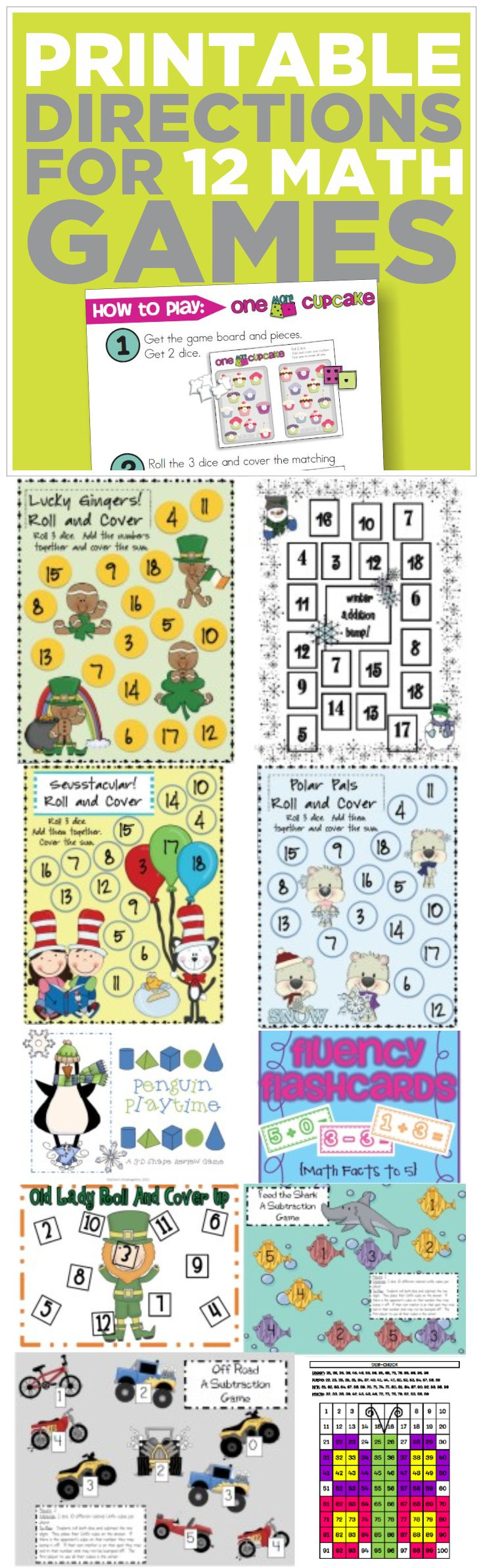 This is awesome! Free picture directions for 12 kindergarten math games (which are also all free). This is perfect for my math centers.