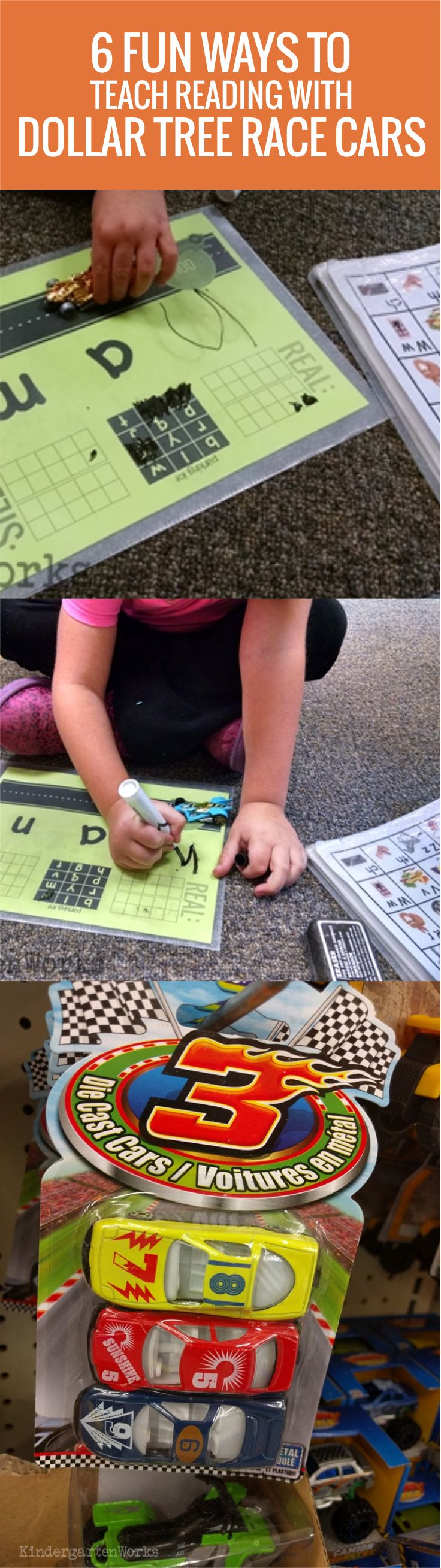 6 Fun Ways to Teach Reading With Dollar Tree Race Cars in Kindergarten - Oh my word, I LOVE these and they are super easy to do!
