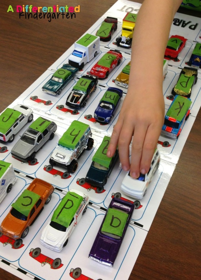 6 Fun Ways to Teach Reading in Kindergarten With Dollar Tree Race Cars - Alphabet Parking Lot