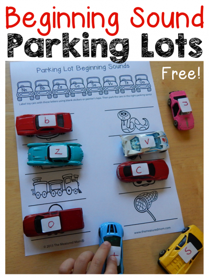 6 Fun Ways to Teach Reading in Kindergarten With Dollar Tree Race Cars - Beginning Sound Parking Lot
