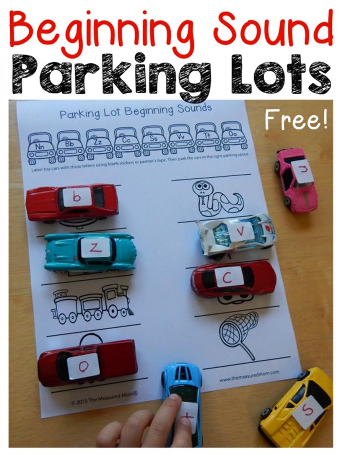 6 Fun Ways to Teach Reading in Kindergarten With Dollar Tree Race Cars - Beginning Sound Parking Lot