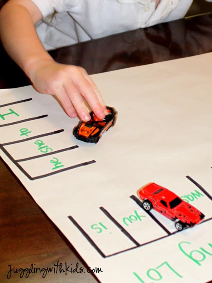 6 Fun Ways to Teach Reading in Kindergarten With Dollar Tree Race Cars - Sight Words Parking Lot Race