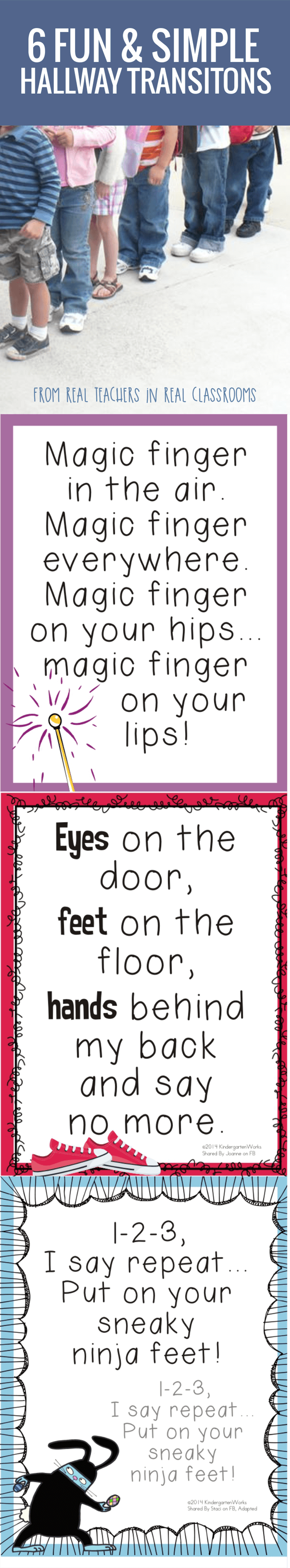 11 Fun and Simple Hallways Transitions for Kindergarten - free to print. Nice!